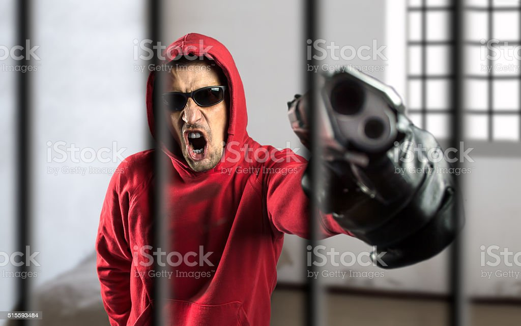 weapons traffic in prison stock photo