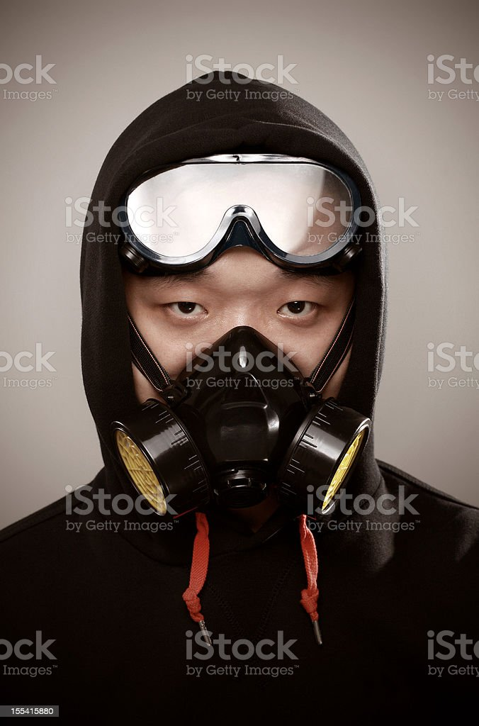 Wear a mask of Chinese royalty-free stock photo
