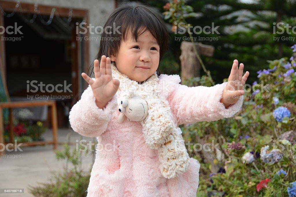KID (TODDLER)  wear outdoor sweater in winter (2Y) #03 stock photo