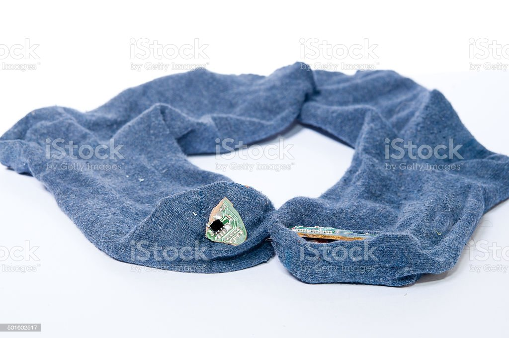 Wearable electronic in clothes stock photo