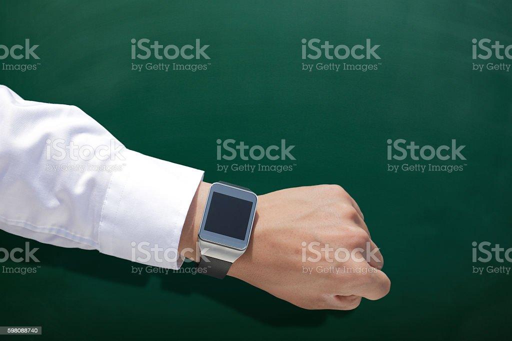 wearable Smart watch with chalkboard stock photo