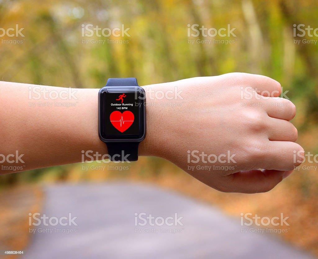 Wearable technology smart watch stock photo