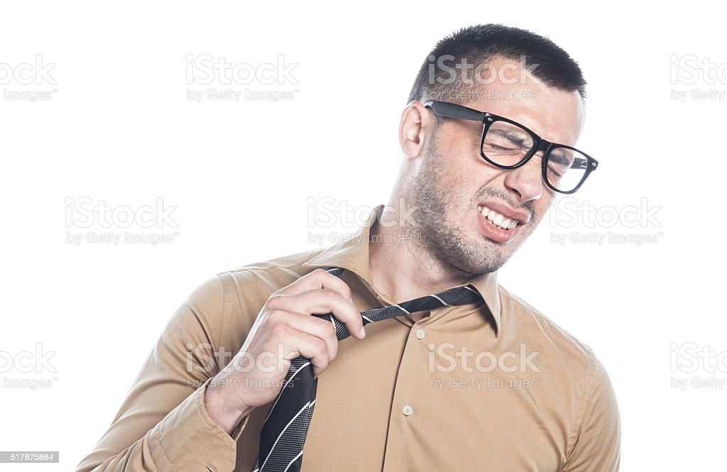Weariful young businessman stock photo