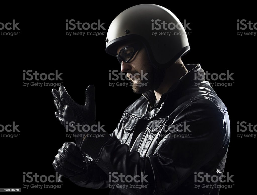 Wearing gloves stock photo