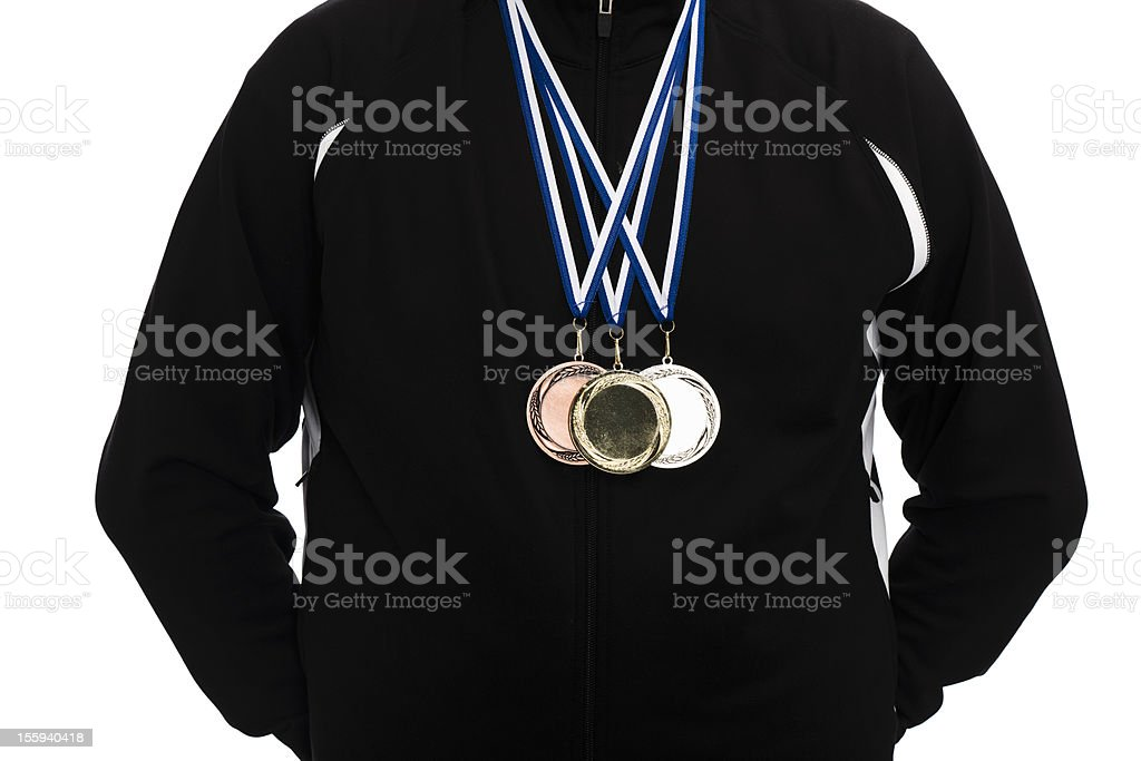 wearing gold silver and bronze medals royalty-free stock photo