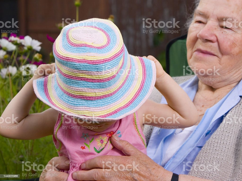 Wearing rainbow hat royalty-free stock photo