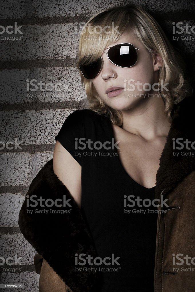 wearing sunglasses in the dark ;) stock photo