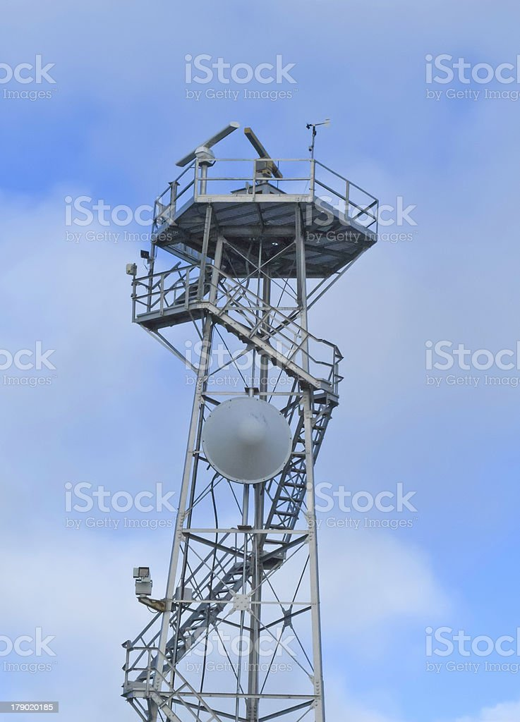 Weather and communications tower with stairway royalty-free stock photo