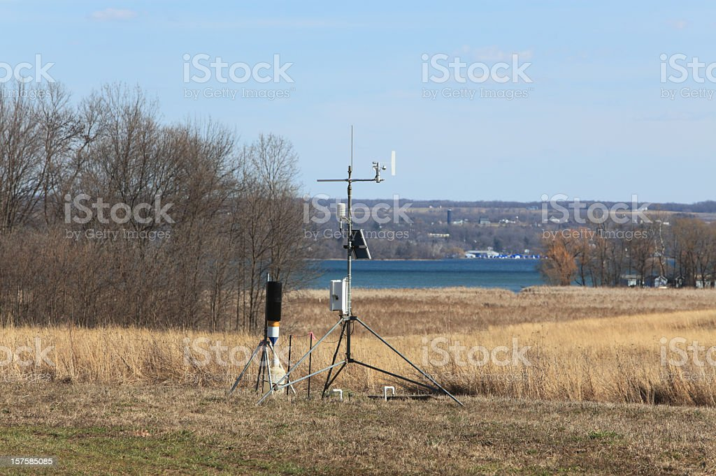 Weather and Environment Monitoring Station in Early Spring royalty-free stock photo