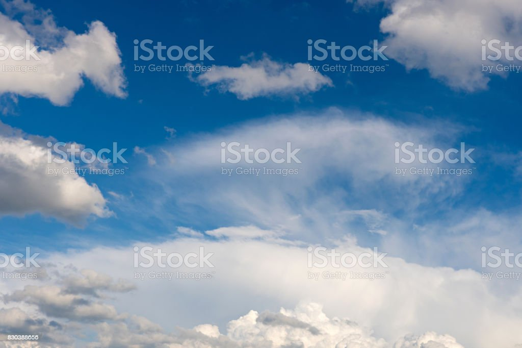 Weather condition with cirrus and cumulus clouds stock photo