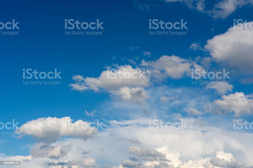 Weather condition with fluffy clouds stock photo