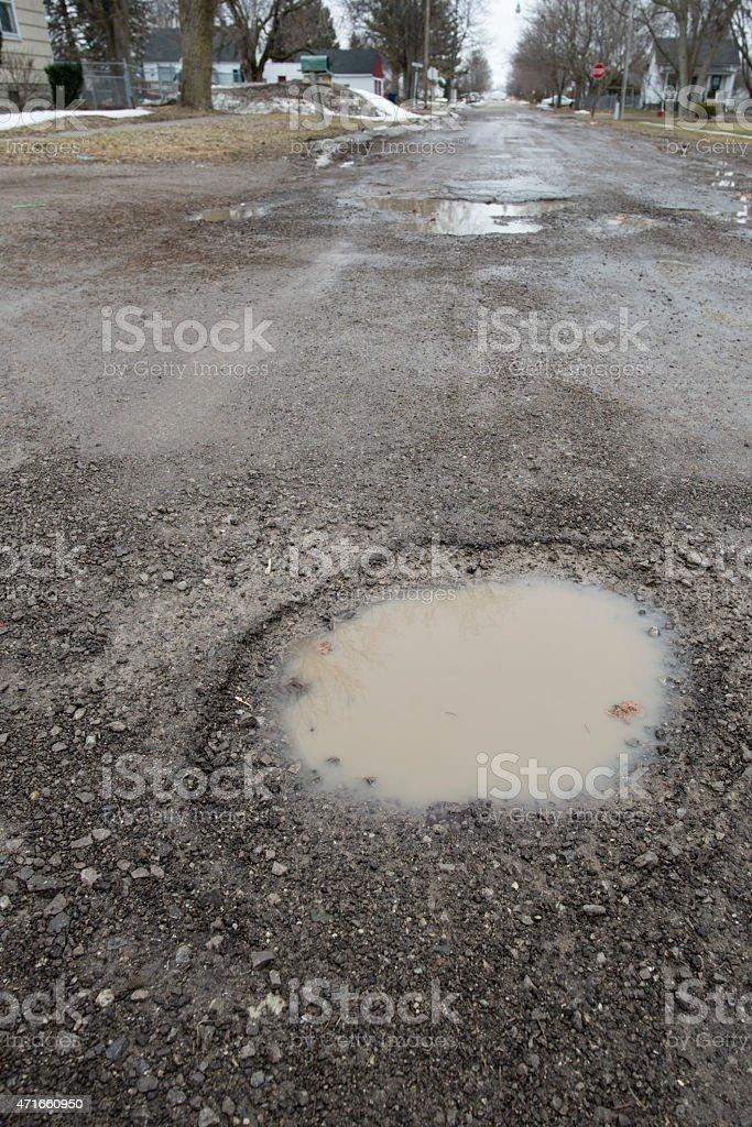 Weather Damaged Roadway stock photo