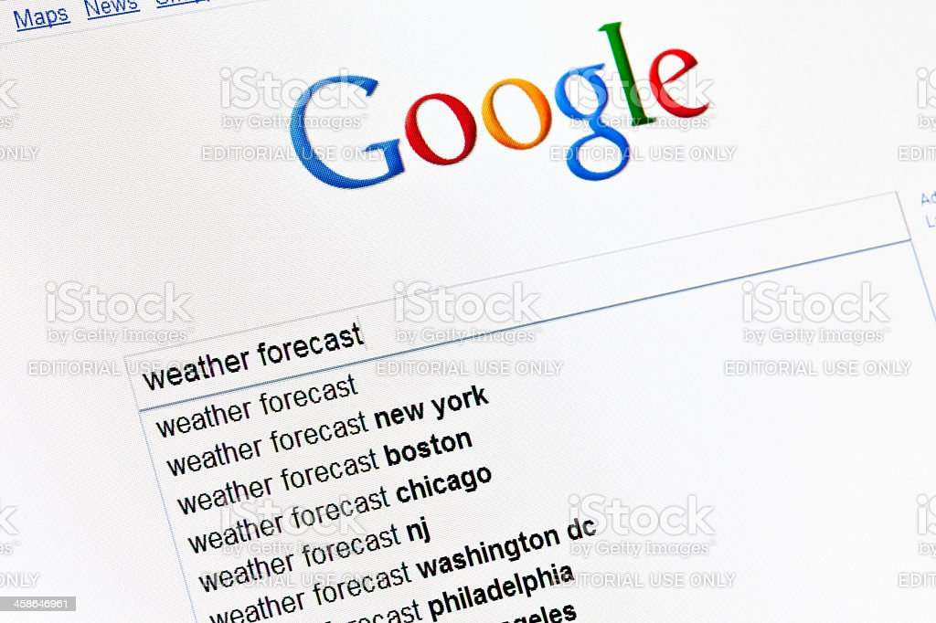 Weather forecast in google search field. stock photo