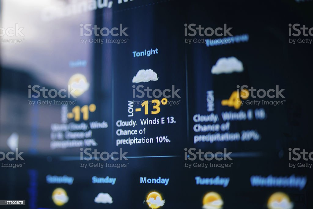 Weather forecast on a digital display stock photo