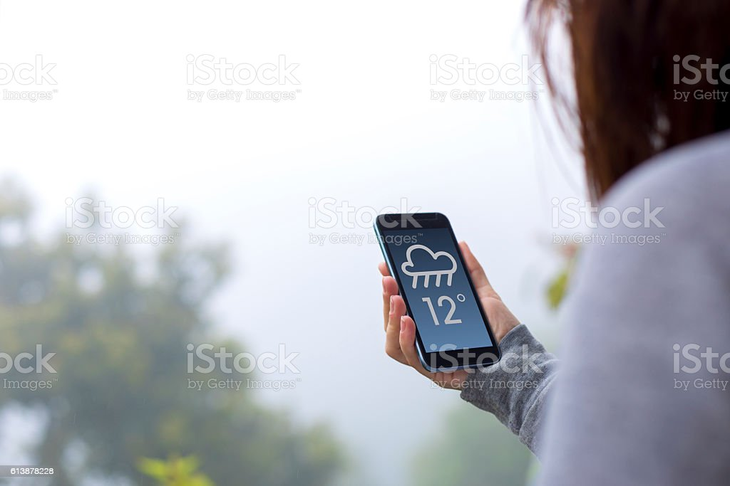 Weather forecast on cell phone stock photo