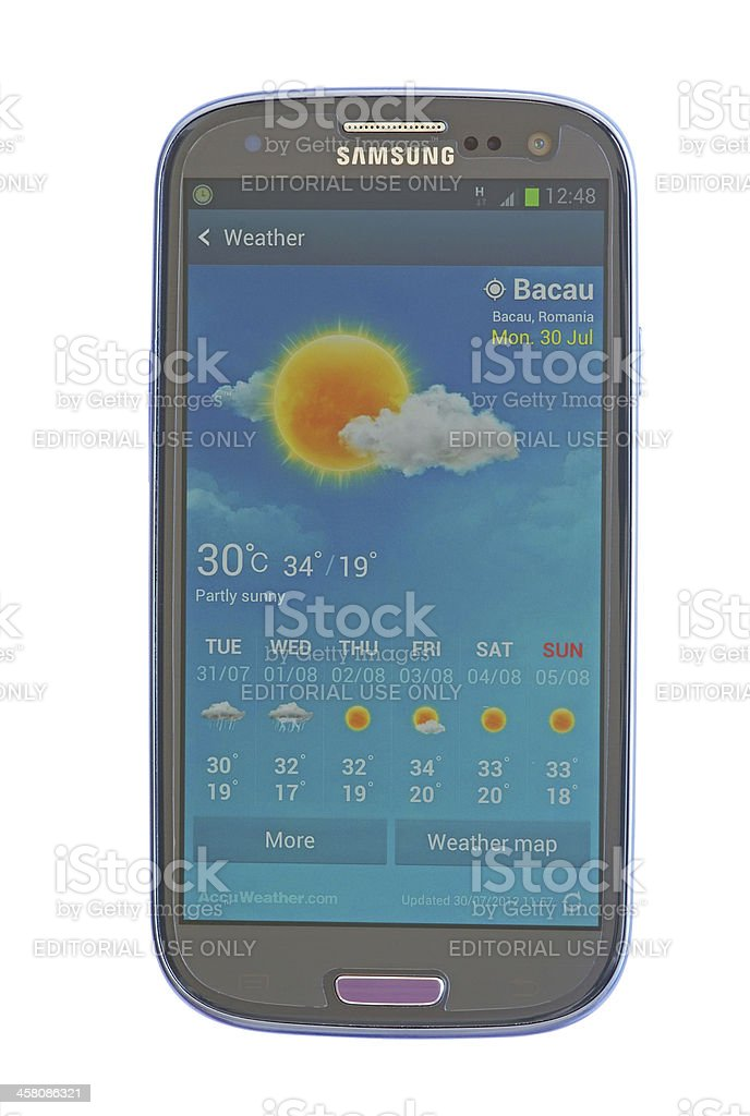 Weather forecast on mobile phone stock photo