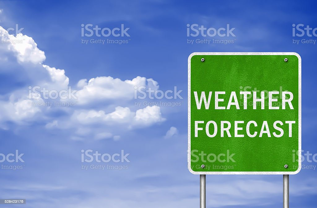 Weather Forecast - road sign concept stock photo