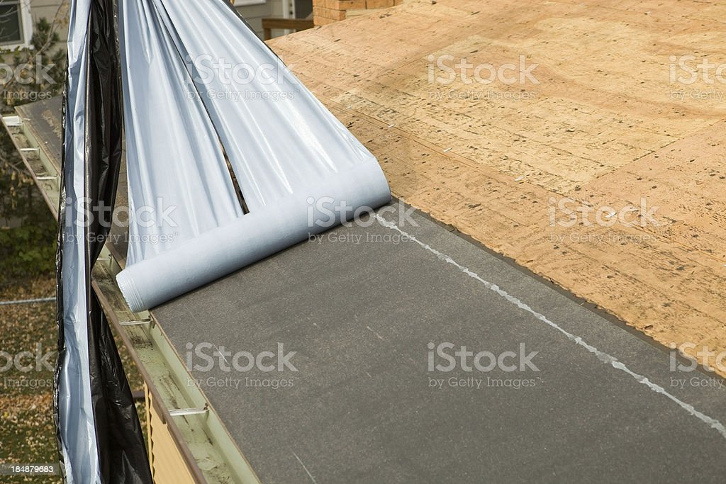 Weather Guard Installation on Replacement Roof Project stock photo
