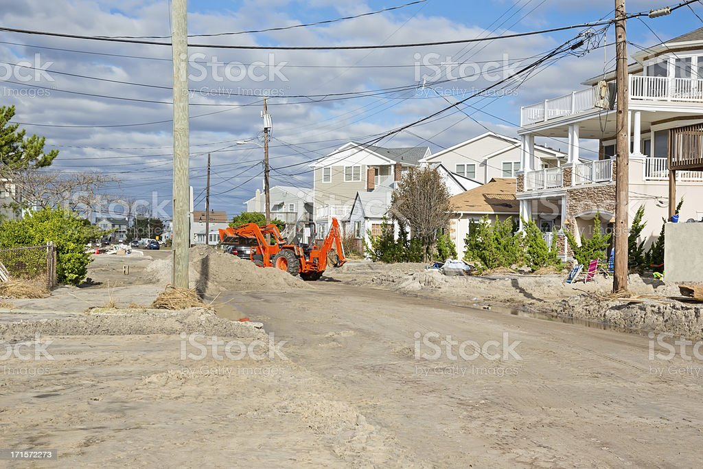 Weather: Hurricane Damage on a New Jersey street stock photo