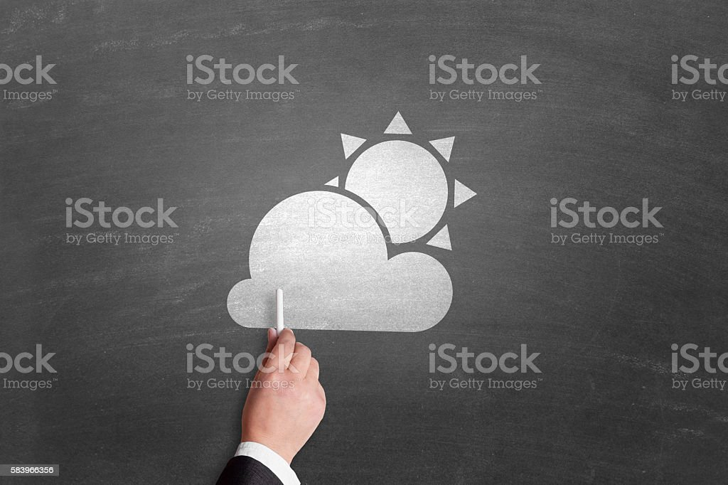 Weather report on blackboard stock photo
