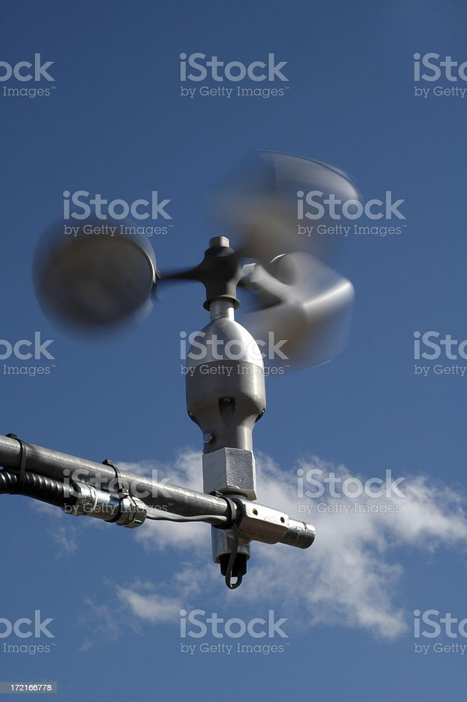 weather station anamometer fast stock photo