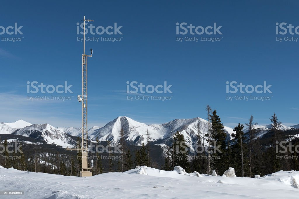 Weather station antenna snow covered Monarch Pass Rocky Mountains Colorado stock photo