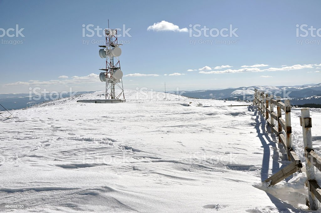 Weather station at winter in the mountains stock photo