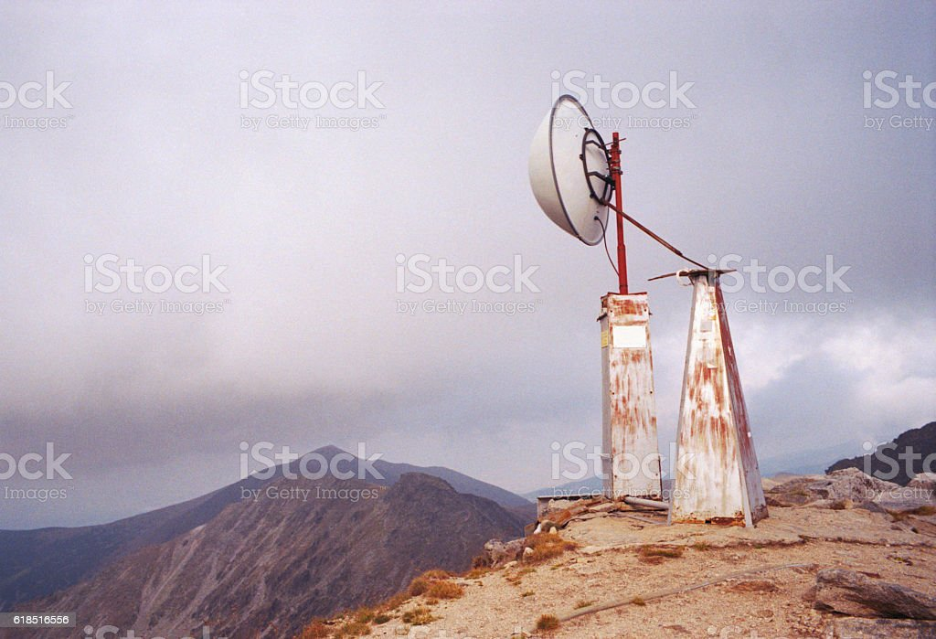Weather station in mount Musala stock photo