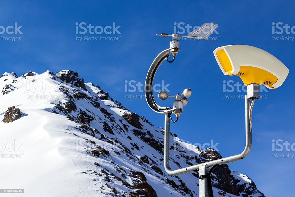 weather station in mountains stock photo