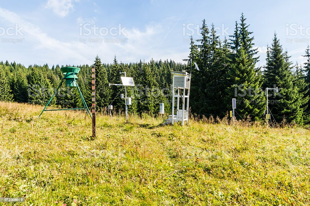 Weather station  in the clearing. stock photo