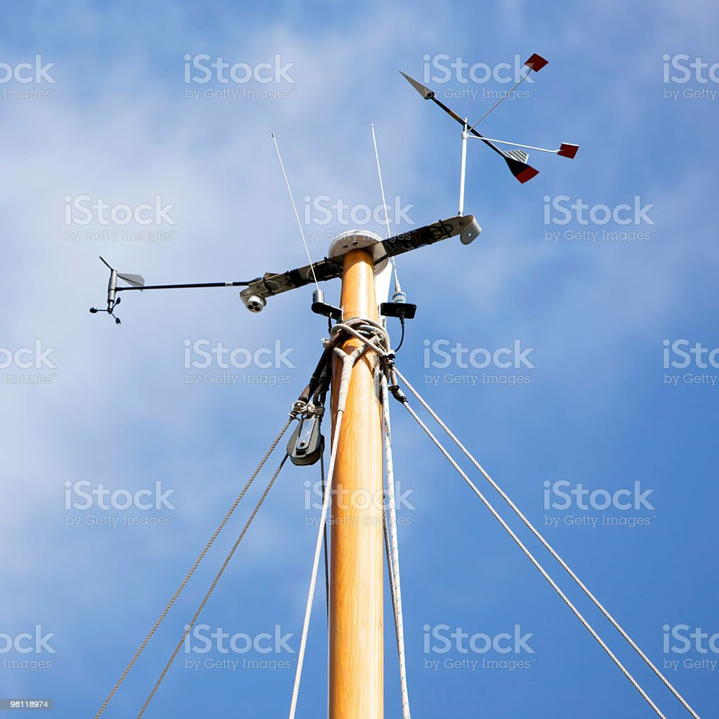 Weather station on mast of a yacht stock photo
