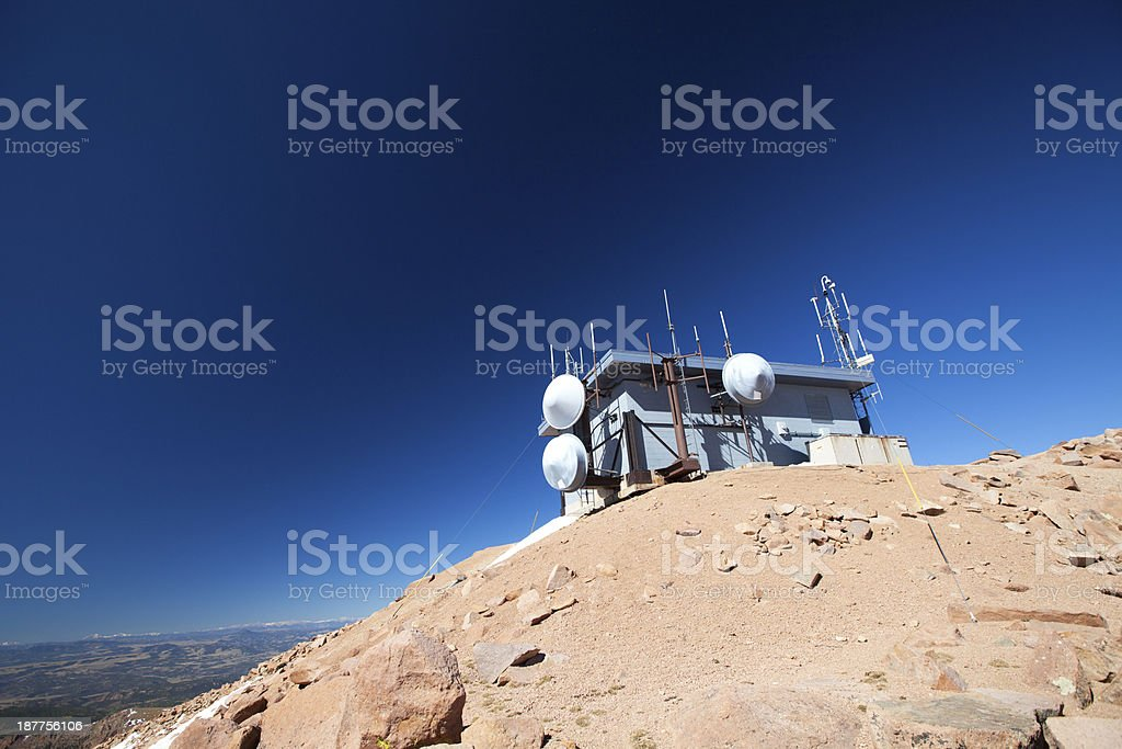 Weather station on top of a mountain stock photo