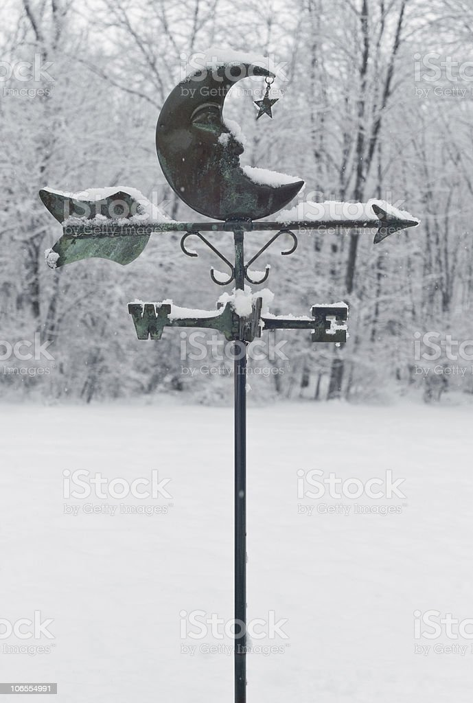 Weather Vane in Snowstorm stock photo