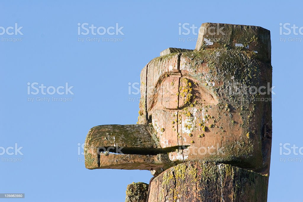 Weather Worned Totem near Victoria, B.C. stock photo