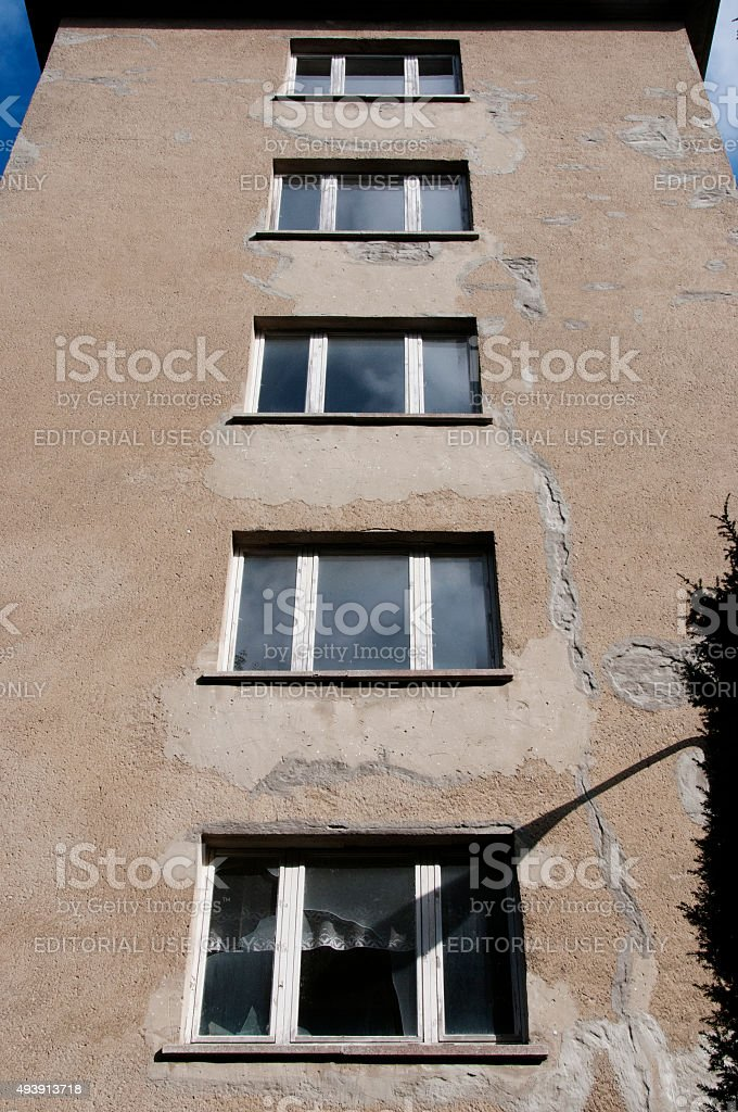 Weatherd facade of Prora on german island Rügen stock photo