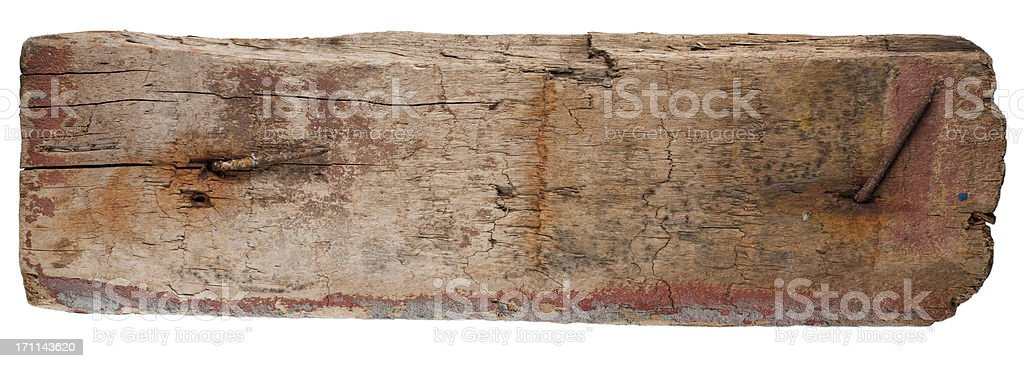 weatherd plank of driftwood royalty-free stock photo