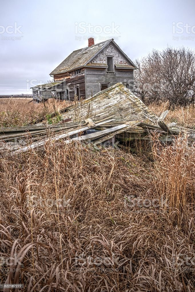 Weathered and Abandoned Farmhouse stock photo