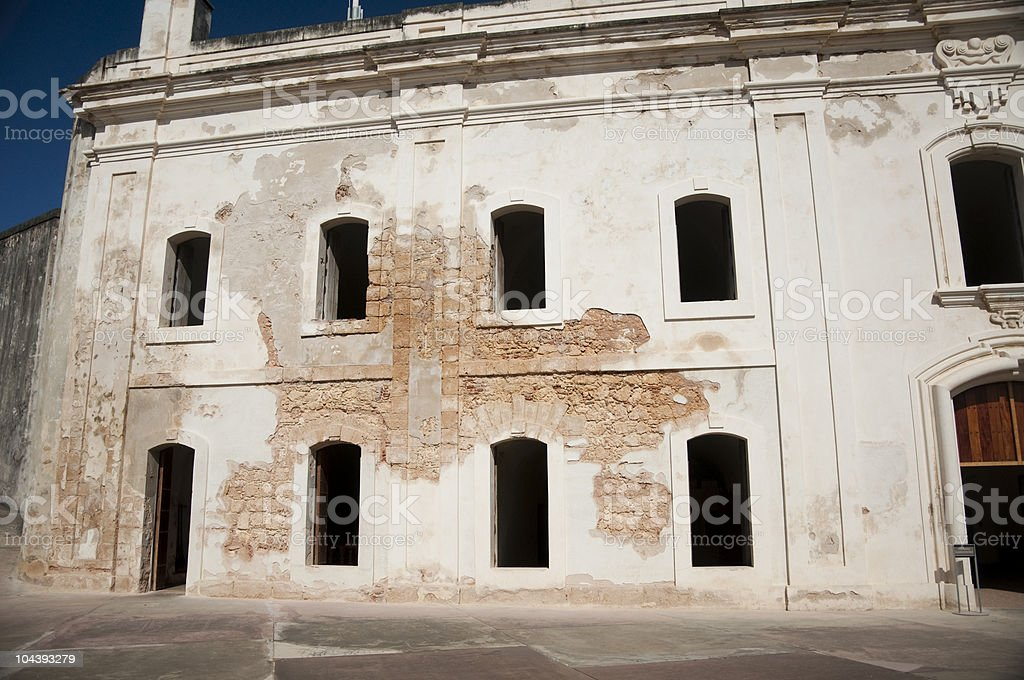 Weathered and Distressed Fort Wall at Castillo San Cristobal stock photo
