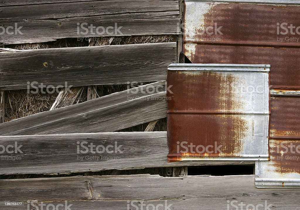 Weathered and Patched Barn stock photo