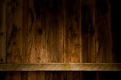 Weathered barn wood wall with empty mantel