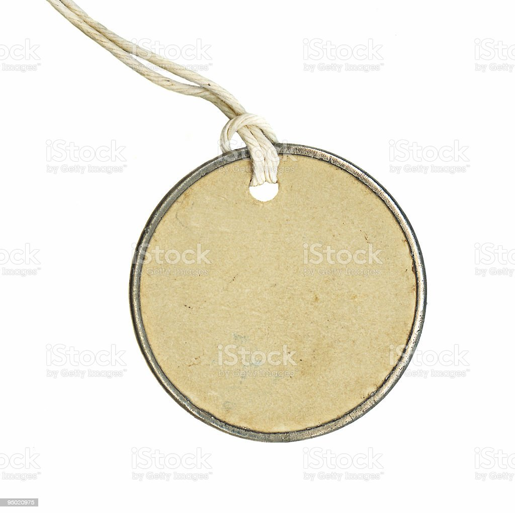 Weathered blank round tag with cotton string royalty-free stock photo