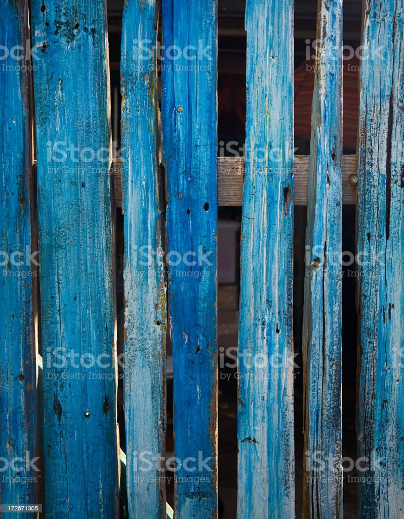 Weathered Blue Wooden Fence royalty-free stock photo