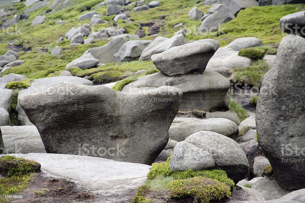 Weathered boulders on Kinder Scout, Peak District UK royalty-free stock photo