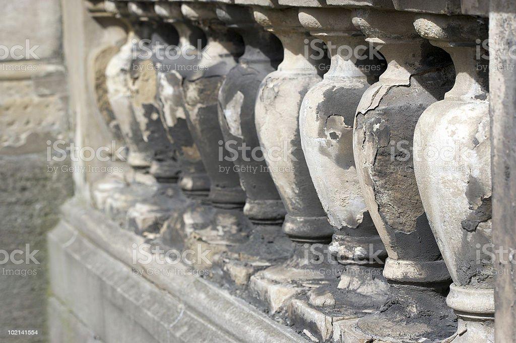 Weathered Carved Stone balustrade royalty-free stock photo