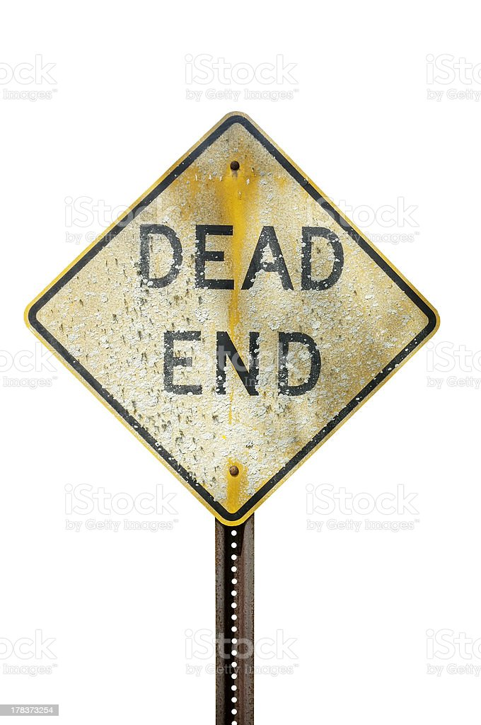 Weathered dead end sign stock photo