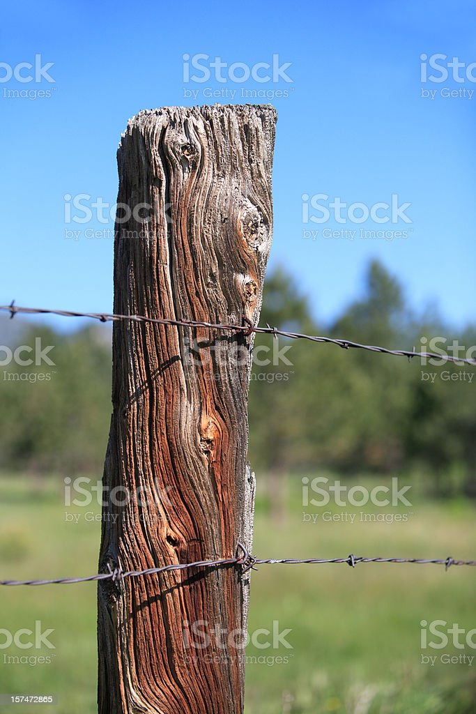 weathered fence post royalty-free stock photo