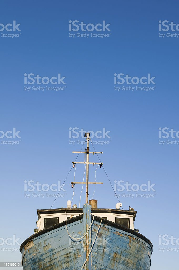 Weathered fishing boat stock photo