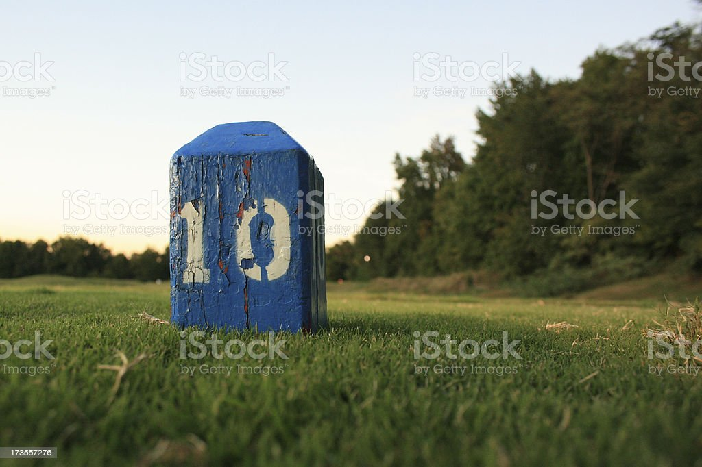 Weathered Golf Tee Marker royalty-free stock photo