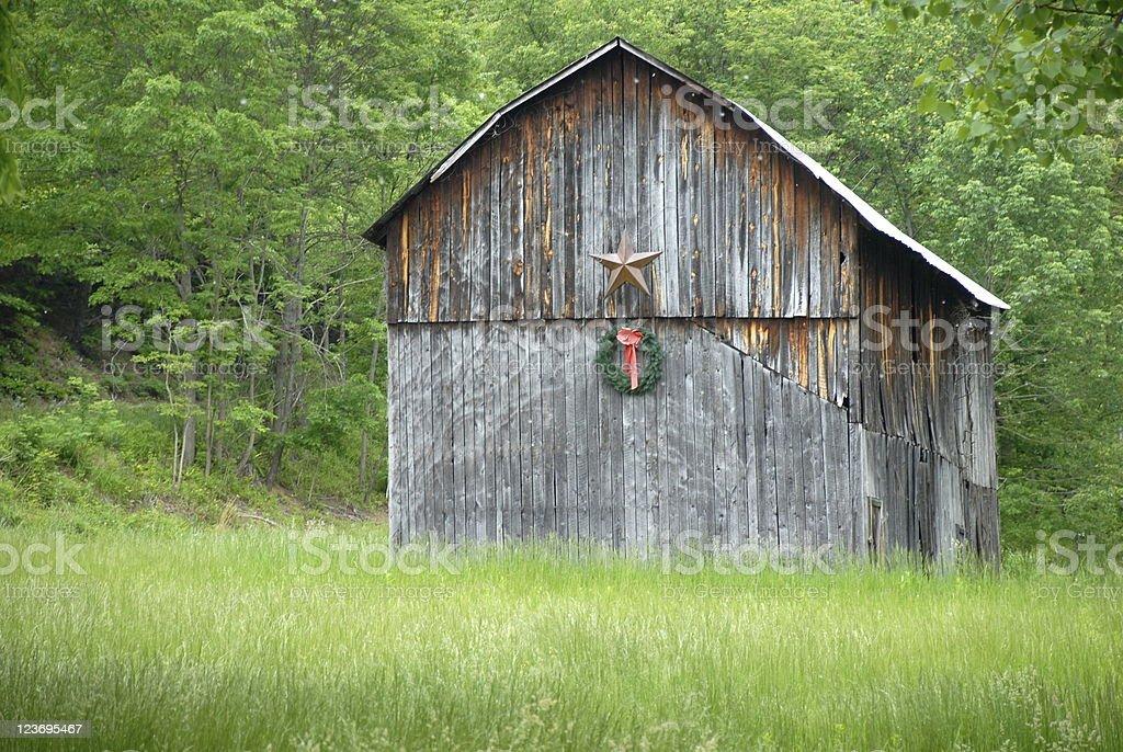Weathered Holiday Barn stock photo