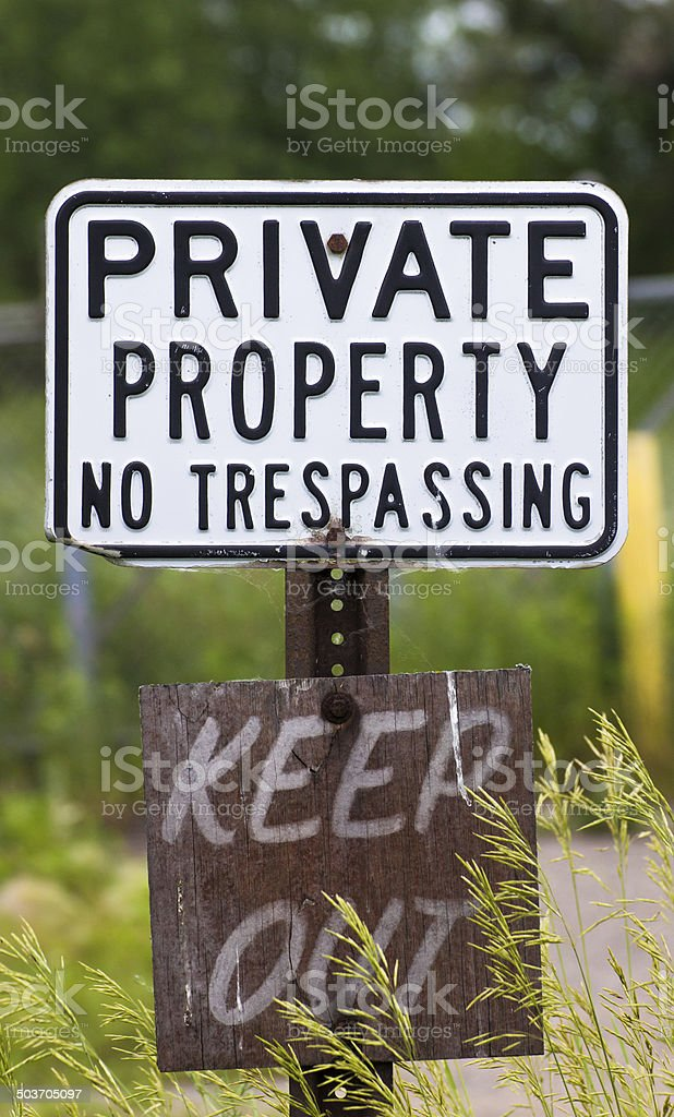 Weathered No Trespassing Sign stock photo